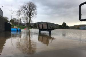 monmouth hit by flooding as river wye bursts its banks following heavy rainfall from storm dennis