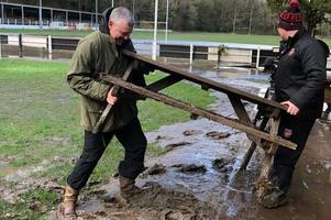 dragons rugby head coach and players turn up to help clean up local rugby club wrecked by storm dennis