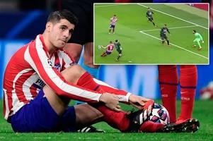chelsea reject alvaro morata injured himself missing a sitter for atletico madrid against liverpool