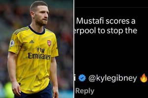 arsenal ace shkodran mustafi responds to fan's bicycle kick goal theory vs liverpool