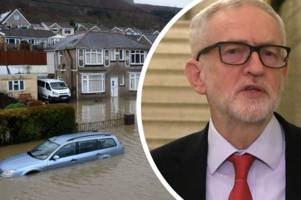 jeremy corbyn slams prime minister for failing to visit communities devastated by storm dennis