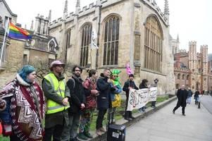 extinction rebellion return to trinity college cambridge for new demonstration