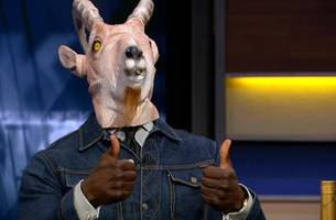 shannon sharpe breaks out the goat james mask to celebrate lebron's performance in lakers win over celtics