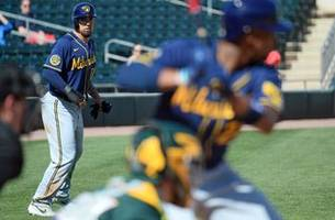 split-squad report: brewers destroy a's, edge angels 2-1