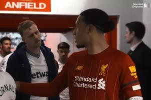 anfield tunnel camera captures savage moment virgil van dijk rejected west ham shirt swap