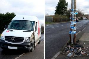 driver taken to the queen's medical centre with 'facial injury' after crash with telegraph pole