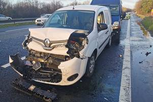 live updates as five vehicle crash on m4 causes severe delays