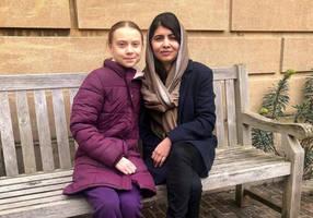 greta thunberg meets malala yousafzai at britain's university of oxford