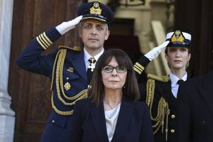 greece's first female president is sworn in