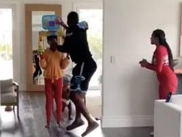 watch: dwyane wade + gabrielle union turn their crib into an nba all-star shootout in hilarious quarantine clip