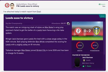 bristol city football manager challenge: leeds united loss, o'dowda departs