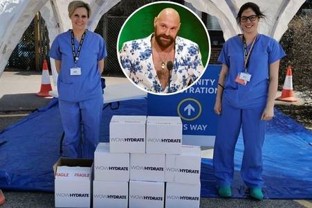 tyson fury donates energy drinks to maternity staff at royal surrey county hospital