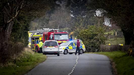 Air ambulance attends Glenavy accident