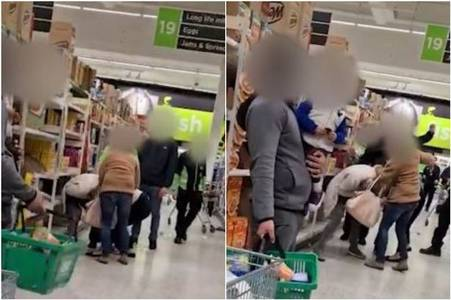 Watch shocking four-person brawl in the middle of Asda supermarket