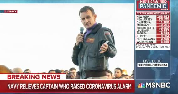navy captain relieved of duty after warning of ship outbreak has reportedly tested positive for coronavirus