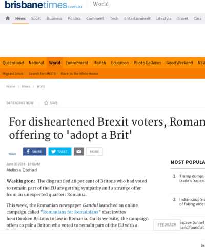 For disheartened Brexit voters, Romania is offering to 'adopt a Brit'