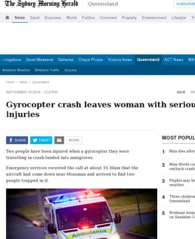 Gyrocopter crash leaves woman with serious back injuries