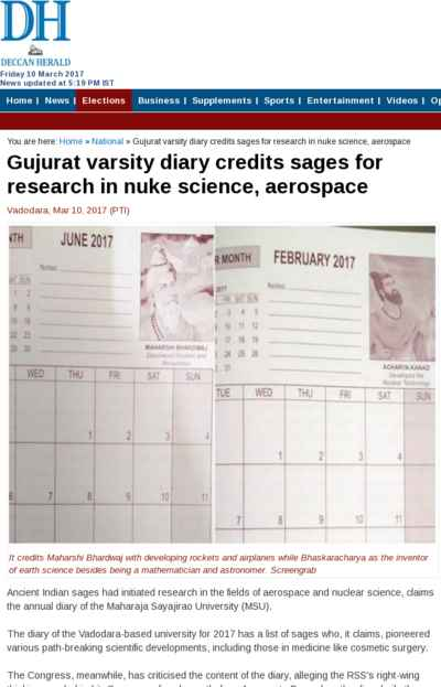 Gujurat varsity diary credits sages for research in nuke science, aerospace