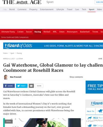 Gai Waterhouse, Global Glamour to lay challenge in Coolmoore at Rosehill Races