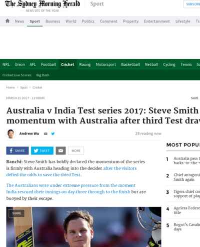 Australia v India Test series 2017: Steve Smith declares momentum with Australia after third Test draw