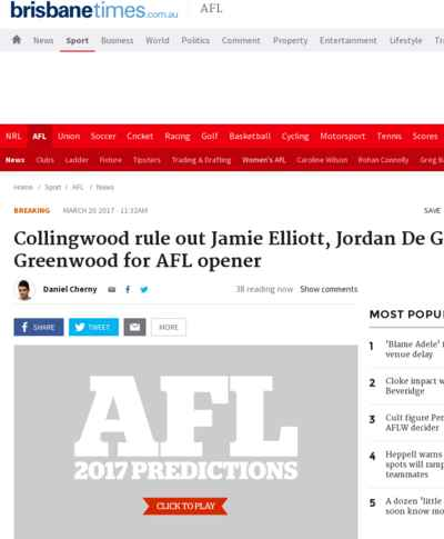 Collingwood rule out Jamie Elliott, Jordan De Goey, Levi Greenwood for AFL opener