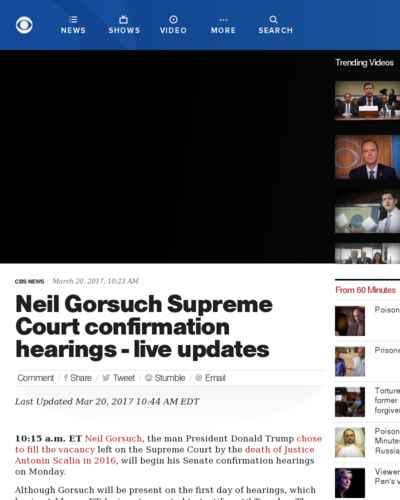 Gorsuch Supreme Court confirmation hearings - live updates