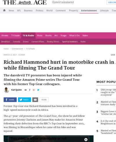 Richard Hammond hurt in motorbike crash in Africa while filming The Grand Tour