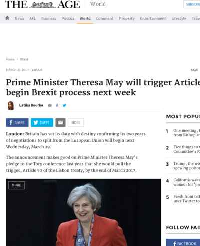 Prime Minister Theresa May will trigger Article 50 to begin Brexit process next week