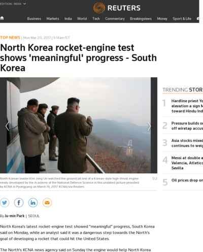 North Korea rocket-engine test shows 'meaningful' progress - South Korea