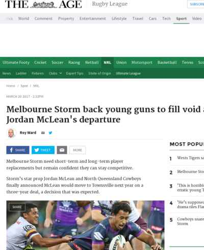 Melbourne Storm back young guns to fill void after Jordan McLean's departure