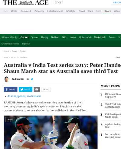 Australia v India Test series 2017: Peter Handscomb, Shaun Marsh star as Australia save third Test