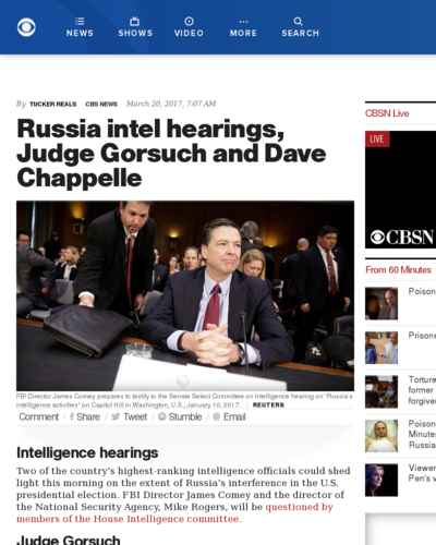 Russia intel hearings, Judge Gorsuch and Dave Chappelle