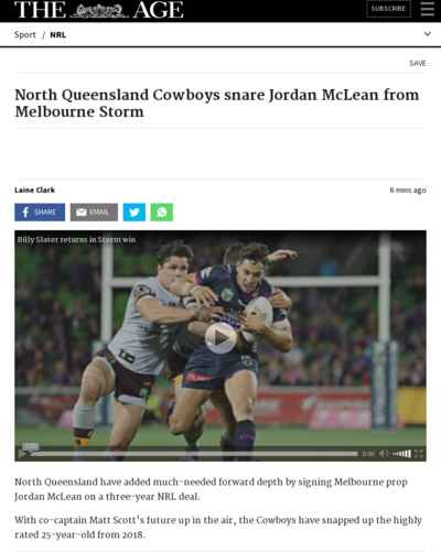North Queensland Cowboys snare Jordan McLean from Melbourne Storm