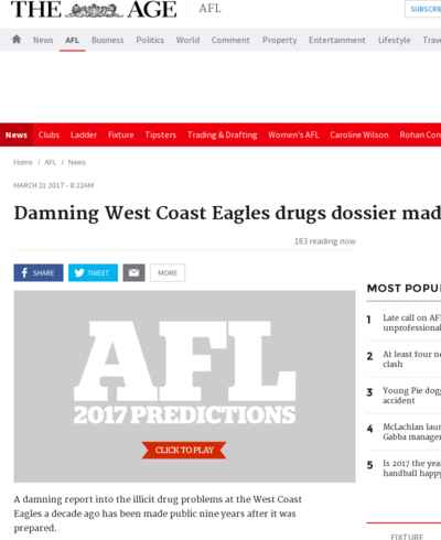 Damning West Coast Eagles drugs dossier made public