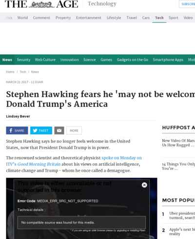 Stephen Hawking fears he 'may not be welcome' in Donald Trump's America