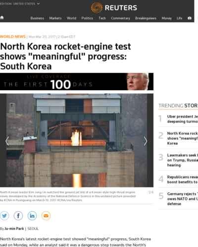 North Korea rocket-engine test shows meaningful progress: South Korea