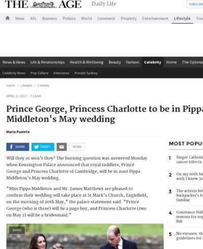 Prince George, Princess Charlotte to be in Pippa Middleton's May wedding