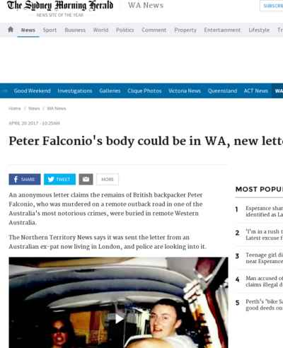 Peter Falconio's body could be in WA, new letter claims
