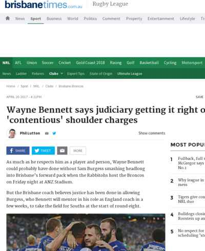 Wayne Bennett says judiciary getting it right on 'contentious' shoulder charges