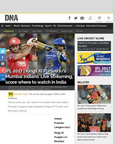 IPL 2017 | Kings XI Punjab v/s Mumbai Indians: Live Streaming, score where to watch in India
