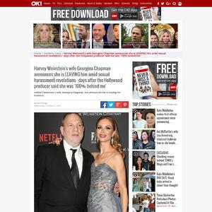 Harvey Weinstein's wife Georgina Chapman announces she is LEAVING him amid sexual harassment revelations - days after the Hollywood producer said she was '100% behind me'