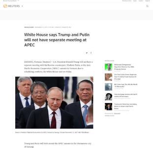 White House says Trump and Putin will not have separate meeting at APEC