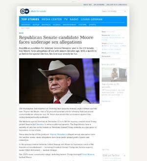 Republican Senate candidate Moore faces underage sex allegations
