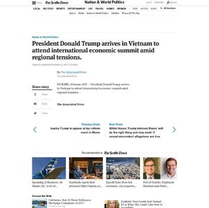 President Donald Trump arrives in Vietnam to attend international economic summit amid regional tensions.
