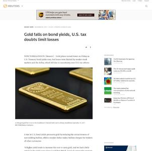 Gold falls on bond yields, U.S. tax doubts limit losses