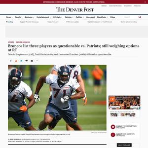 Broncos list three players as questionable vs. Patriots; still weighing options at RT