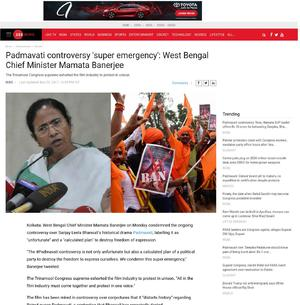 Padmavati controversy 'super emergency': West Bengal Chief Minister Mamata Banerjee