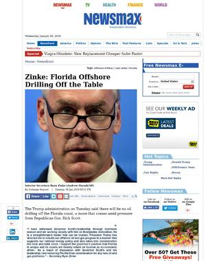 Zinke: Florida Offshore Drilling Off the Table