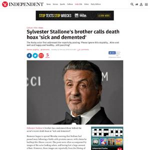 Sylvester Stallone's brother calls death hoax 'sick and demented'