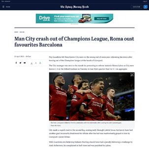 Man City crash out of Champions League, Roma oust favourites Barcalona
